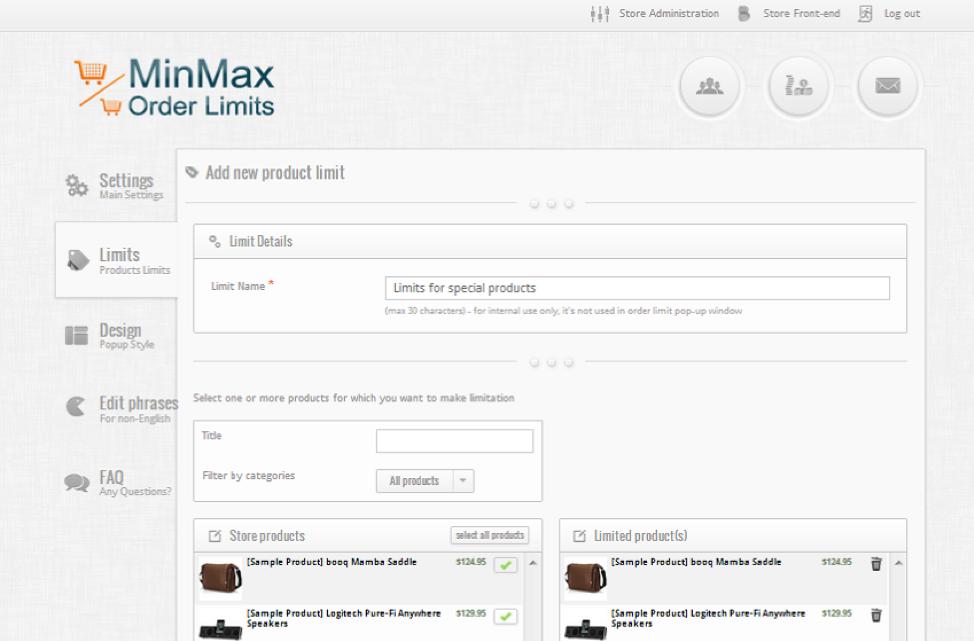 MinMax order limits