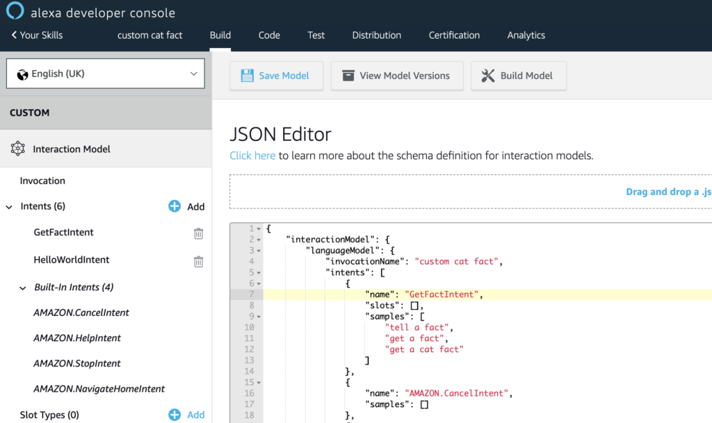 Edit intents in JSON editor