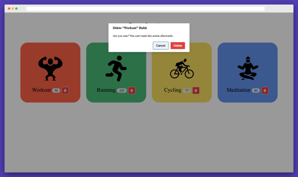 Streaks App - Delete Habit Show Modal