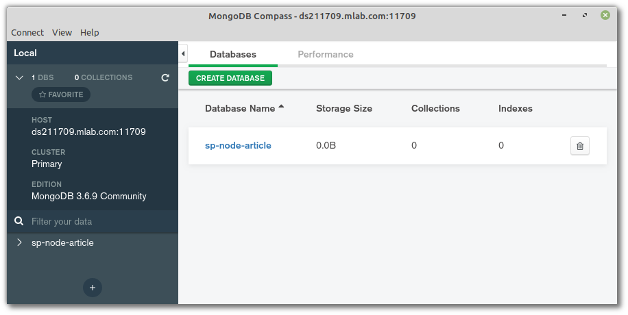 MongoDB Compass connected to mLabs
