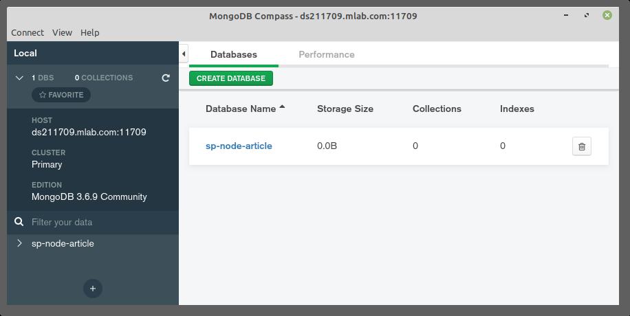 MongoDB Compass connecté aux mLabs