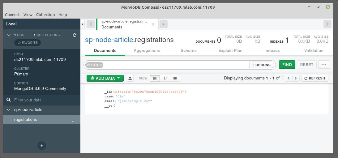 Utilisation de Compass pour vérifier que nos données ont été enregistrées dans MongoDB