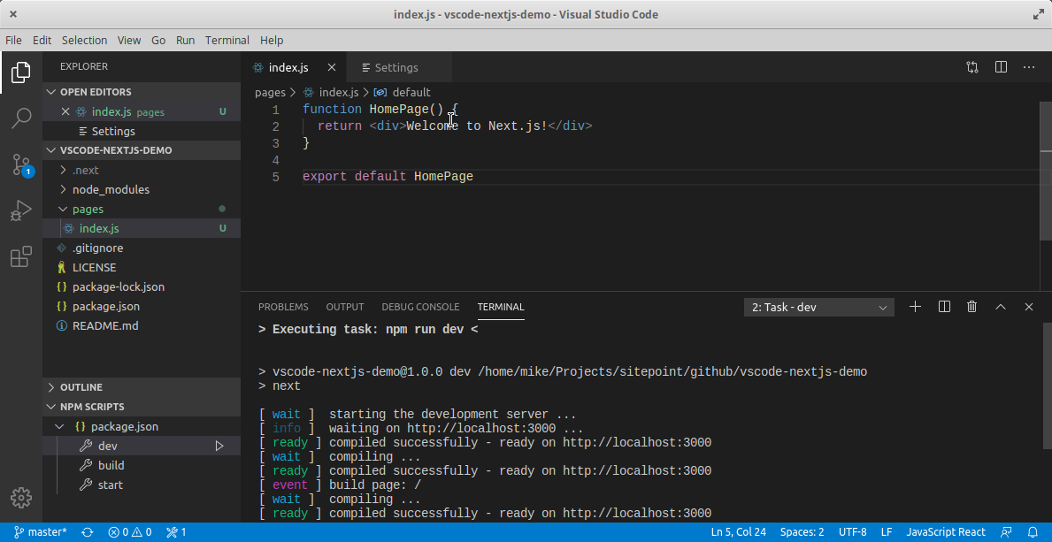 VS Code run script