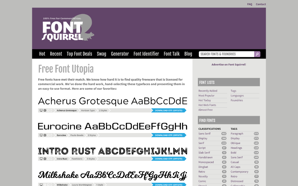 A screenshot from the Font Squirrel website