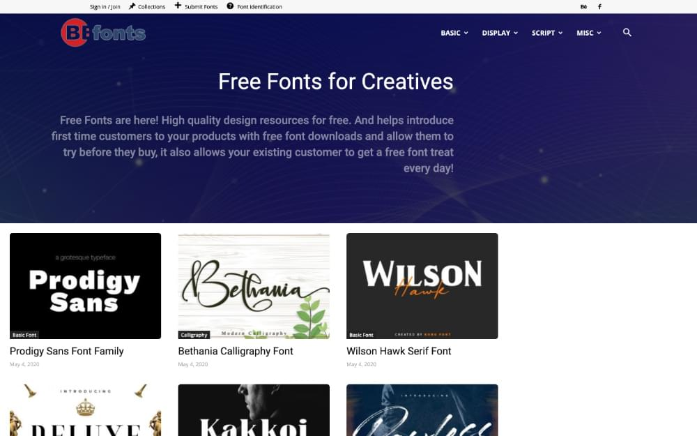 A screenshot from the Befonts website