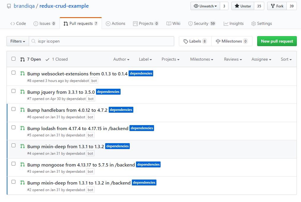 GitHub security bumps
