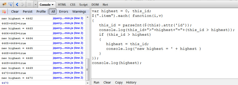 jquery-highest-id-of-elements