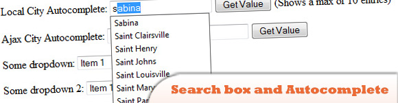 jQuery Search box and Autocomplete