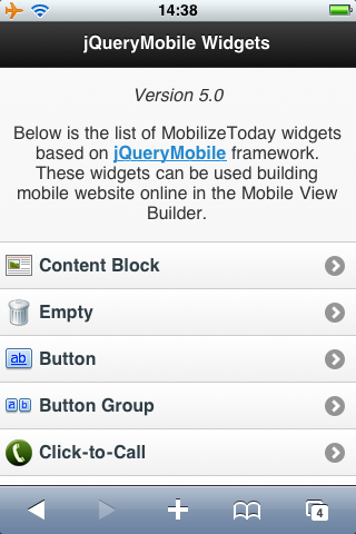 jQueryMobile Widgets by MobilizeToday.com