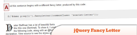 jQuery Fancy Letter