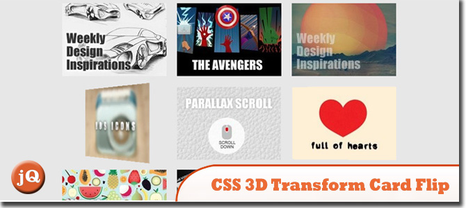 CSS 3D Transform Card Flip Gallery