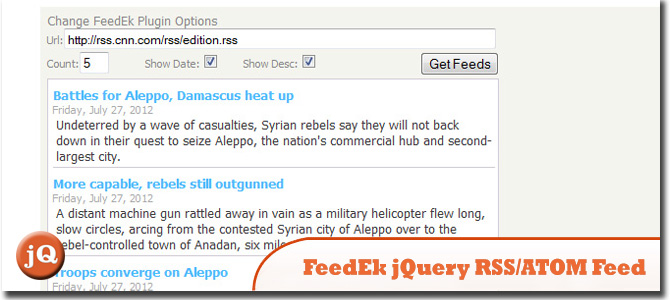 FeedEk jQuery RSS/ATOM Feed