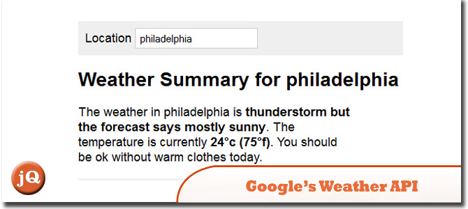 Using Google's Weather API