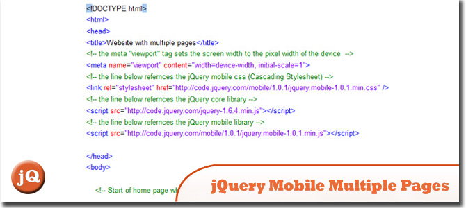 jQuery Mobile Multiple Pages