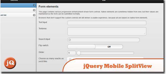 Jquery Mobile SplitView