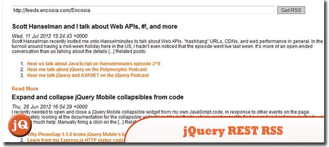 jQuery REST RSS Demo