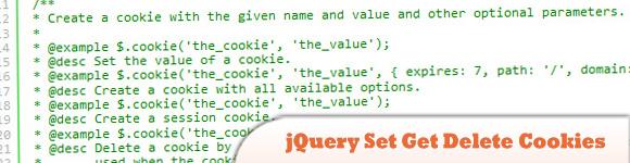 jQuery Set Get Delete Cookies
