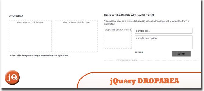 jQuery DROPAREA