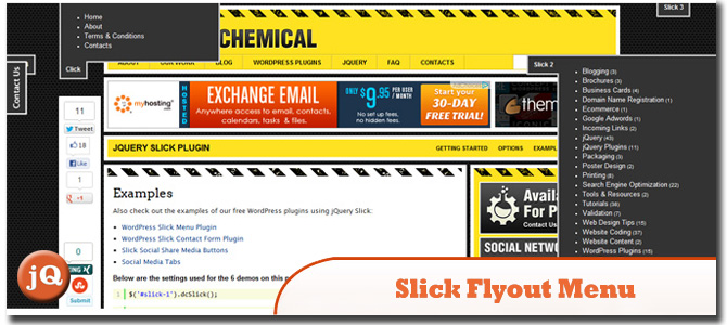 jQuery & WordPress Slick Flyout Menu
