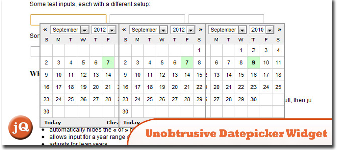 Unobtrusive Datepicker Widget