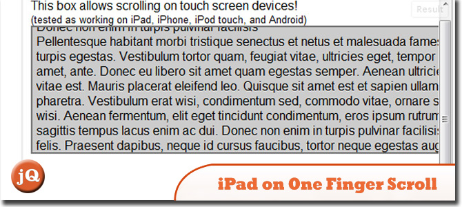 jQuery iPad one finger scroll