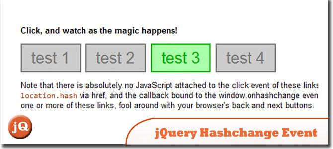 jQuery hashchange event