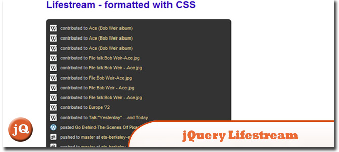 jQuery Lifestream
