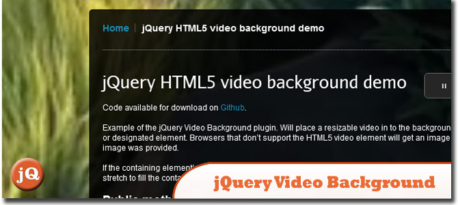 jQuery Video Background