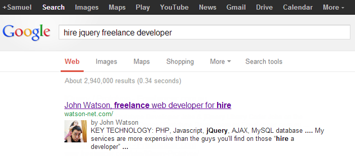 google find freelancer jquery