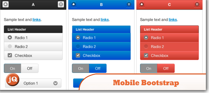 Top 10 Jquery Mobile Bootstraps And Templates